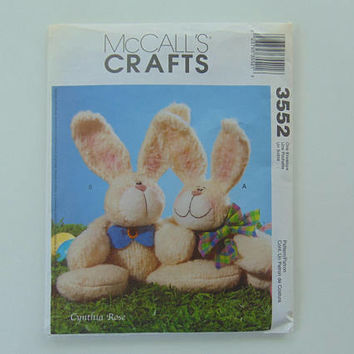 McCall's Crafts 3552 Cuddling Bunnies Stuffed Doll Sewing Pattern UNCUT