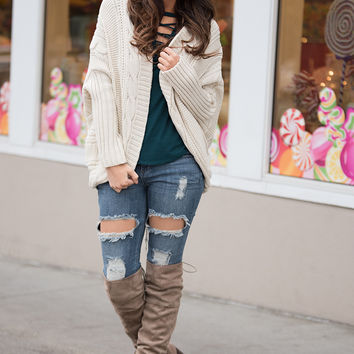 Cable Knit Connections Long Sleeve Batwing Cardigan (Beige)
