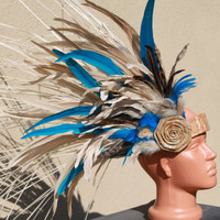 Tahitian costume, Small side headpiece with ni'au and tapa cloth band- you choose colors, headdress, affordable, budget