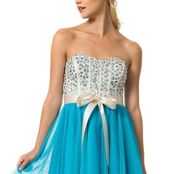 Teeze Me | Queen Colleen Strapless Corset Jewel Beaded Full Tulle Skirt Party Dress | Champagne/Turquoise