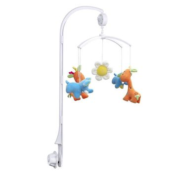 Baby toys White Rattles Bracket Set Baby Crib Mobile Bed Bell Toy Holder Arm Bracket Wind-up Music Box Free