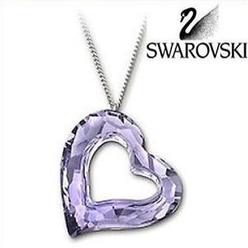 Swarovski Large Crystal Love heart Lilac Purple Heart Pendant Necklace   1087209 6b84815bd7