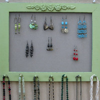 Widthwise Light Green Shabby Chic JEWELRY ORGANIZER RACK / 40 - 50 Earrings / 28 - 35 Necklaces