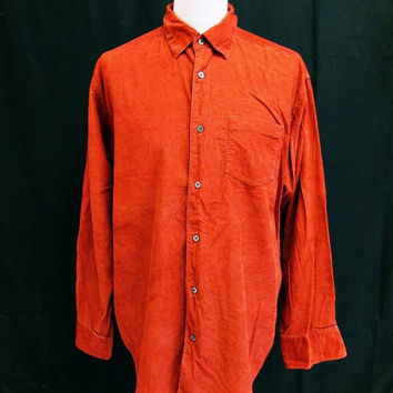 Vintage 90s Banana Republic Cord Red / Orange Western Shirt Large