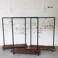 Rustic Industrial Reclaimed Wood Standard Rolling Garment Rack