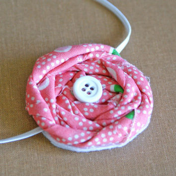 Pink, White and Green Rosette Fabric Headband with white button/ 3-12 month through adult