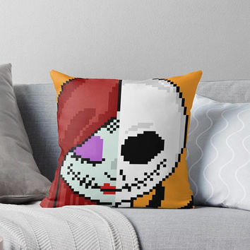 8 Bit Sally Finklestein Jack Skellington Nightmare Before Christmas 16x16 Throw Pillow Cover Halloween Fall Pumpkin Blue Silhouette Pixel