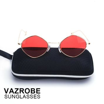 Vazrobe hexagon Women's Sunglasses 2017 Red Lens Small Face Retro hexagonal Sun Glasses for Woman Female Men steampunk goggles