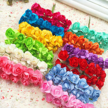 144 PCS a artificial flowers mini paper flowers/wedding gift box invitations Christmas decorations/free shipping