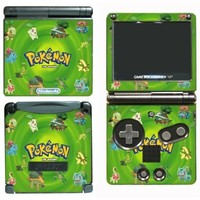 Pokemon Leaf Green Black and White 2 Video Game Vinyl Decal Cover Skin Protector for Nintendo GBA SP Gameboy Advance Game Boy