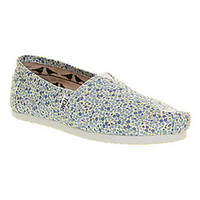 Toms CLASSIC SLIP ON DITSY FLORAL BLUE EXCLUSIVE Shoes - Womens Flats Shoes - Office Shoes