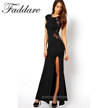 Sexy Women's Fashion Lace & Knitting Patchwork Back Waist Hollow Out Solid Black Slim Side Slit Open Long Dress