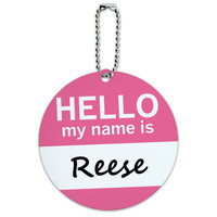 Reese Hello My Name Is Round ID Card Luggage Tag