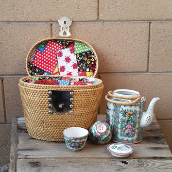 Chinese Hand Painted Tea Set With Wicker Basket Warmer