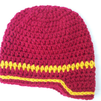 Crochet Baby Newsboy Hat // Newborn Baby Boy Hat // Crimson and Gold Baby Crochet Hat // 0-3 Months