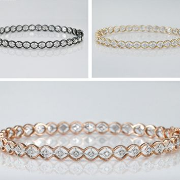 New Modern Simple Design Rosary Real Diamond Bangles and Bracelets Real Gold
