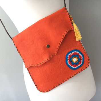 Leather Bag, Messenger Bag, Orange Bag