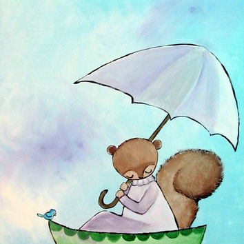 Lily Pond Original Childrens Painting Art for Kids Room Decor Little Girls Squirrel