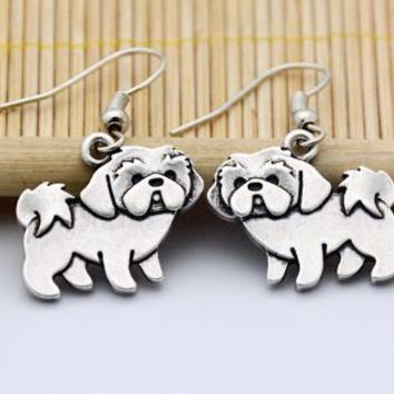 Cuddly Silver Shih Tzu Earrings *LIMITED SUPPLY*