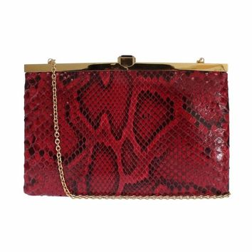 Dolce & Gabbana Bag Red Python Snakeskin Shoulder Crystal Clutch