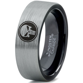 Punisher Inspired Silver Black Tungsten Ring