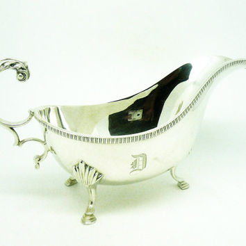 Solid Silver Sauce Boat, Sterling, Gravy, English, Vintage, Tableware, LARGE, Hallmarked London 1931, REF:252T