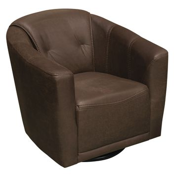 Murphy Swivel Accent Chair in Chocolate Brown Fabric