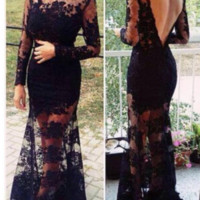 CUTE LACE LONG BLACK DRESS