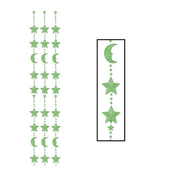 """Beistle Party Decoration Nite-Glo Moon & Star Bead Curtain 6' 6"""""""" x 24""""""""- Pack of 1"""