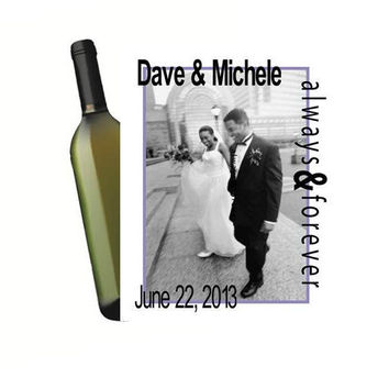 4 Customized Your Photo Wine Bottle Labels Personalized Wedding Wine Bottle Labels Anniversary Party Rehearsal Dinner