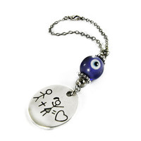 Evil Eye Car Rearview Mirror Ornament, Blue Glass Eye Bead, Boy and Girl Love Charm, Car Decoration, Car Mirror Hanging