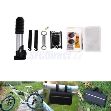 Bike Repair Tool Kits - 16 in 1 Multifunction Bicycle Mechanic Fix Tools Set Bag with Tire Patch Levers Valve Cap Inflator