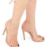 Liv Lace Up Heels - Blush