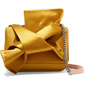 No. 21 - Knot satin and leather shoulder bag