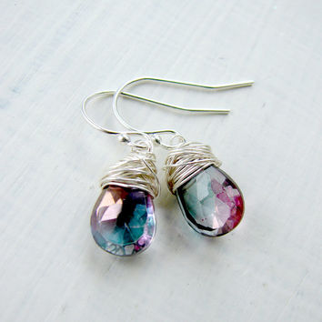 Mystic Quartz Earrings. Dangle Earrings. Silver Gemstone Earrings. Purple Teal Teardrop Earrings
