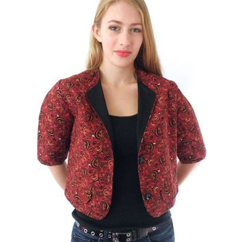 60s Cropped Paisley Bolero Jacket/Top // Brick Red Marsala // Crop // By Glentex // Size Medium