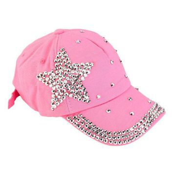DCCKWJ7 Women Girls Rhinestone Star Shaped Studded Cotton Hat Bling Shining Pink Baseball Cap Summer  2016 Hot Sale