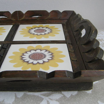 Vintage Carved Wood Tray Flower Tiles, Wall Art, Wooden Ceramic Serving, Rustic Boho, Brown White Yellow, 1970s
