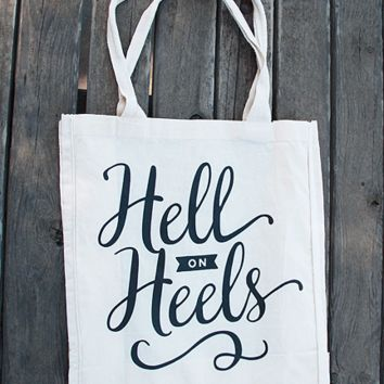 Hell on Heels Tote Bags