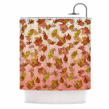 "Ebi Emporium ""AUTUMN OMBRE, PINK GREEN"" Pink,Green,Nature,Pattern,Watercolor,Mixed Media Shower Curtain"