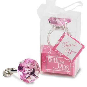 Crystal Ring Love You Forever Keychain