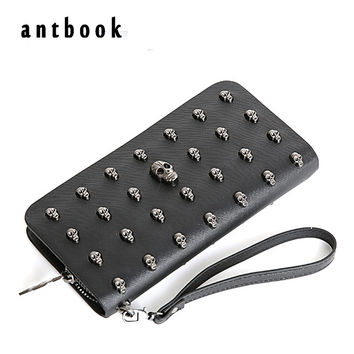new fashion women wallet long pu leather purse clutch vintage punk skull rivets men wallet freeship