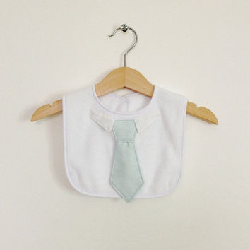 Boys bib, shirt and tie bib, special occasion, light blue, baby boy bib, boys baby shower gift, Etsy UK