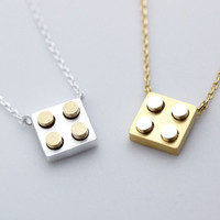 Gold and Silver Lego Block necklace in Gold/Silver - geometric jewelry