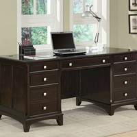 Garson collection transitional style espresso finish wood office desk