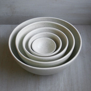 Nesting Bowls Large Set of Five White Speckled Ceramic Bowls Rustic Handmade Pottery Ready to Ship Made in USA