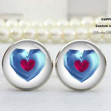 Double heart  Cufflinks , Men cufflinks,Love wedding gift , Best Gifts For Father, with Free Gift Box,Silver cufflinks