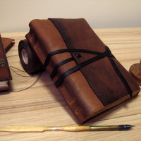 Leather Journal or Notebook, Brown Antiqued Leather, Antiqued Pages - The Traveler