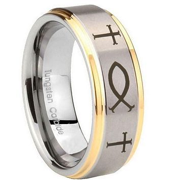 8MM Step Edges Fish & Cross 14K Gold IP Tungsten 2 Tone Laser Engraved Ring