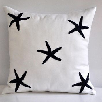 Navy Blue Starfish Throw Pillow Cover Decorative by KainKain